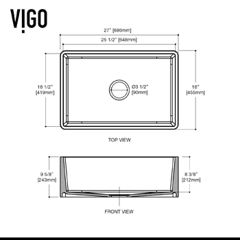Vigo Kitchen Sink  Dimensions