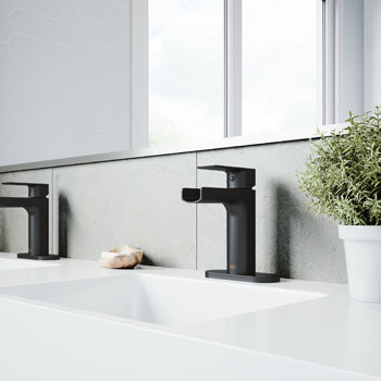 Matte Black Faucet with Deck Plate