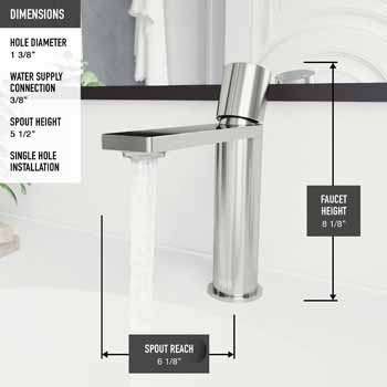 Vigo Brushed Nickel Faucet Product Dimensions