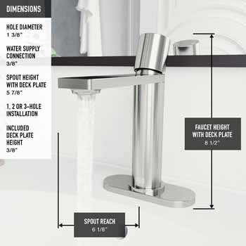 Vigo Brushed Nickel Faucet with Deck Plate Product Dimensions