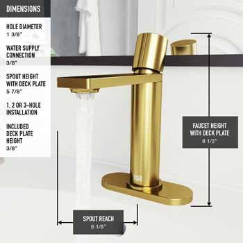 Vigo Matte Gold Faucet with Deck Plate Product Dimensions