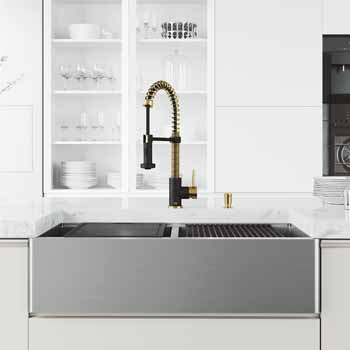 Vigo Matte Gold/Matte Black with Soap Dispenser Lifestyle 2