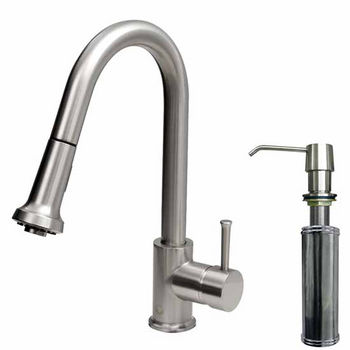 Pull-Out Spray Faucet w/ Deck Plate & Soap Dispenser