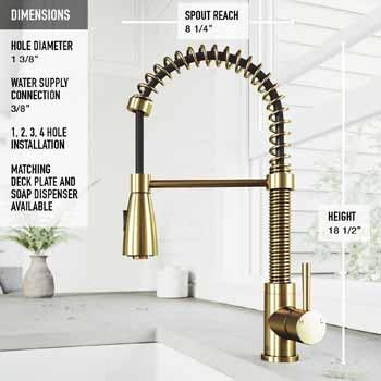 Vigo Matte Gold Facuet Product Dimensions
