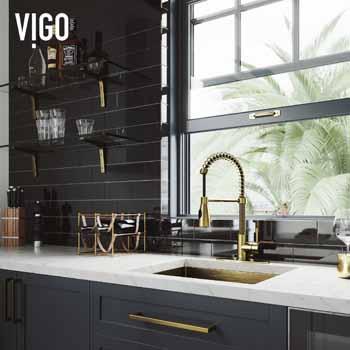 Vigo Matte Gold with Deck Plate Lifestyle 3