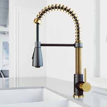 Vigo Matte Gold/Matte Black Faucet Lifestyle View