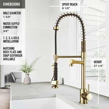 Vigo Matte Gold Faucet Product Dimensions