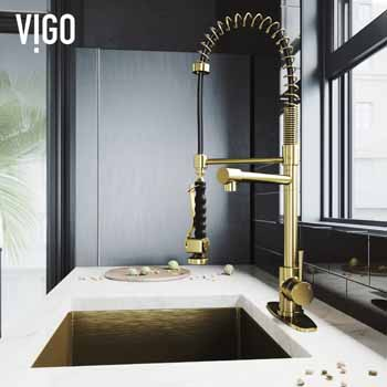 Vigo Matte Gold with Deck Plate Lifestyle 2