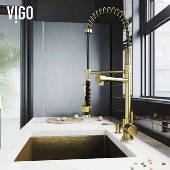 Vigo Matte Gold with Soap Dispenser Lifestyle 1