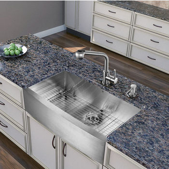 Stainless Steel Straight Wide Pull-Out Spray Kitchen Faucet