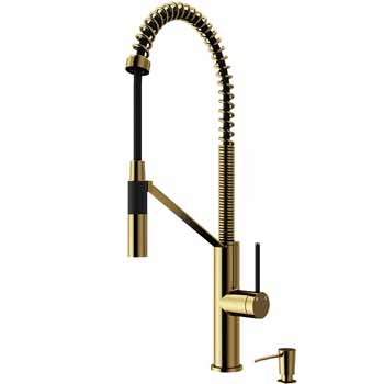 Vigo Matte Gold with Soap Dispenser Display View