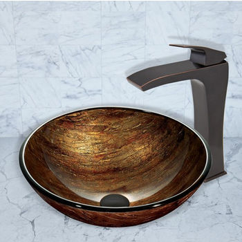 Vigo Blackstonian Vessel Faucet, Antique Rubbed Bronze Finish