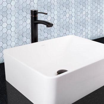 """Vigo Milo Vessel Bathroom Faucet with Pop-Up in Antique Rubbed Bronze, Faucet Height: 12-1/2"""", Spout Height: 9-1/2"""", Spout Reach: 5"""""""