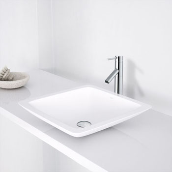 "Vigo Begonia Matte Stone Vessel Bathroom Sink in Matte White, 16-5/8"" W x 16-5/8"" D x 3-1/2"" H"