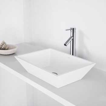 "Vigo Vinca Matte Stone Vessel Bathroom Sink in Matte White, 18-1/8"" W x 13-3/4"" D x 4-1/2"" H"