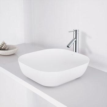 """Vigo Camellia Matte Stone Vessel Bathroom Sink in Matte White, 14-1/4"""" W x 14-1/4"""" D x 4-3/8"""" H"""