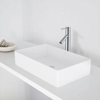 """Vigo Magnolia Matte Stone Vessel Bathroom Sink in Matte White, 21-1/16"""" W x 13-1/16"""" D x 4-3/4"""" H"""