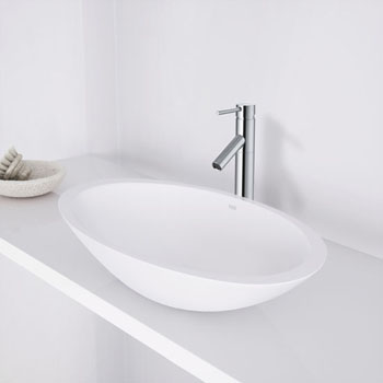 "Vigo Wisteria Matte Stone Vessel Bathroom Sink in Matte White, 23"" W x 13-5/8"" D x 4"" H"