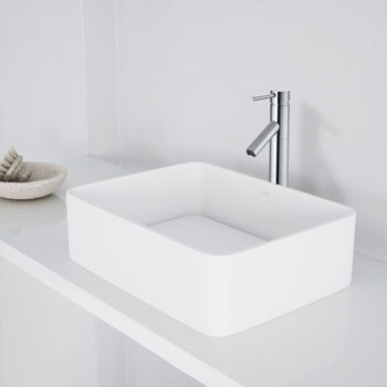 "Vigo Jasmine Matte Stone Vessel Bathroom Sink  in Matte White, 18"" W x 14-1/2"" D x 5"" H"