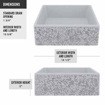 Vigo Aster Sink Product Dimensions