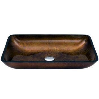 "Vigo VIG-VG07047, Rectangular Russet Glass Vessel Bathroom Sink, 22-1/4"" W x 14-1/2"" D x 4-1/2"" H"