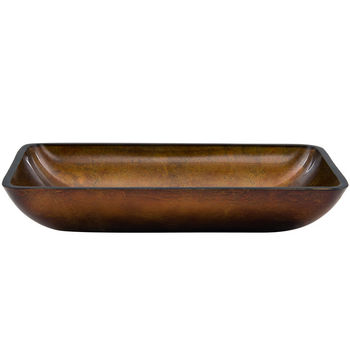 "Vigo VIG-VG07047, Rectangular Russet Glass Vessel Bathroom Sink, 22-1/4"" W x 14-1/2"" D x 4-1/2"" H"