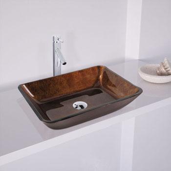 "Vigo 18"" Rectangular Glass Vessel Bathroom Sink in Russet, 17-7/8"" W x 13"" D x 4"" H"