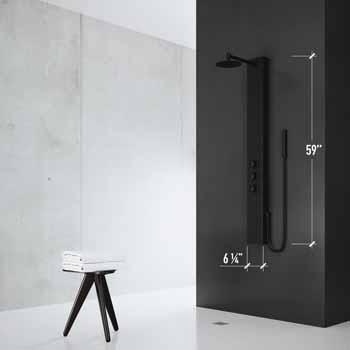 Vigo Matte Black Shower Panel Dimensions