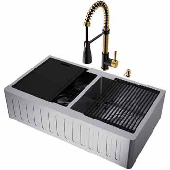 33'' Sink w/ Brant Faucet in Matte Brushed Gold/Matte Black