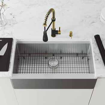 36'' Sink w/ Brant Faucet in Matte Brushed Gold and Matte Black