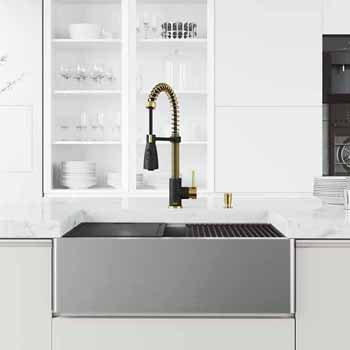 30'' Sink w/ Brant Faucet in Matte Brushed Gold and Matte Black