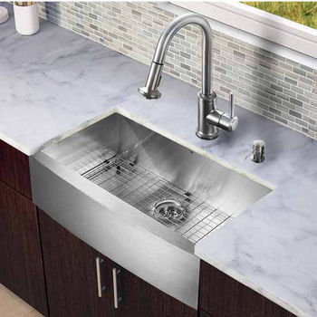 Vigo All In One 33-Inch Farmhouse Stainless Steel Kitchen Sink And Faucet Set