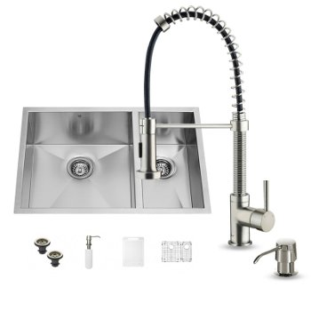 Kitchen Sink Shower Kitchen sink and faucet sets stainless steel and glass vessel vigo endicott collection vig vg15176 all in one 29 inch undermount stainless steel double bowl kitchen sink and faucet workwithnaturefo
