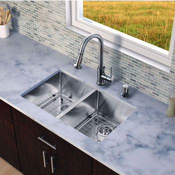 "Vigo VIG-VG15232, All in One 29-inch Undermount Stainless Steel Double Bowl Kitchen Sink and Faucet Set , 18 Gauge, 29-1/4"" W x 18-1/2"" D x 8-1/4"" H, Stainless Steel"