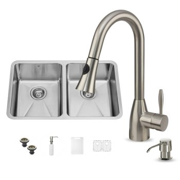 "Vigo VIG-VG15233, All in One 29-inch Undermount Stainless Steel Double Bowl Kitchen Sink and Faucet Set , 18 Gauge, 29-1/4"" W x 18-1/2"" D x 8-1/4"" H, Stainless Steel"