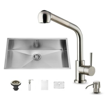 vigo all in one 30 inch undermount stainless steel kitchen sink and faucet set - Kitchen Sink And Faucet Sets