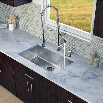 """Vigo VIG-VG15251, All in One 30-inch Undermount Stainless Steel Kitchen Sink and Chrome Faucet Set , 16 Gauge, 30"""" W x 19"""" D x 10"""" H, Stainless Steel/Chrome"""