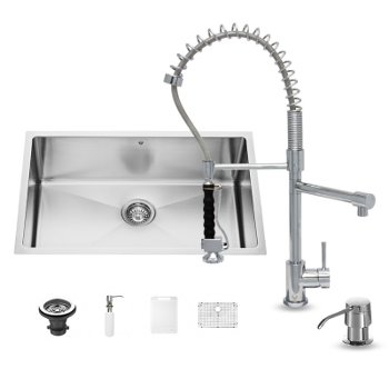 "Vigo VIG-VG15251, All in One 30-inch Undermount Stainless Steel Kitchen Sink and Chrome Faucet Set , 16 Gauge, 30"" W x 19"" D x 10"" H, Stainless Steel/Chrome"