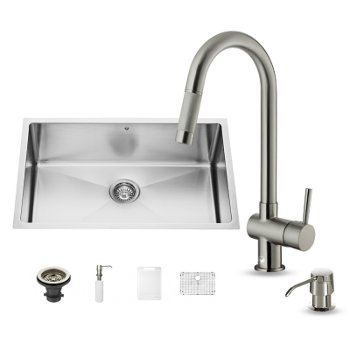 "Vigo VIG-VG15253, All in One 30-inch Undermount Stainless Steel Kitchen Sink and Faucet Set , 16 Gauge, 30"" W x 19"" D x 10"" H, Stainless Steel"