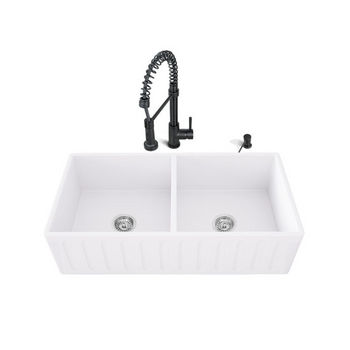 Black Faucet Sink Set, White Background