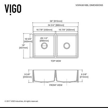 "36"" Sink Specifications"