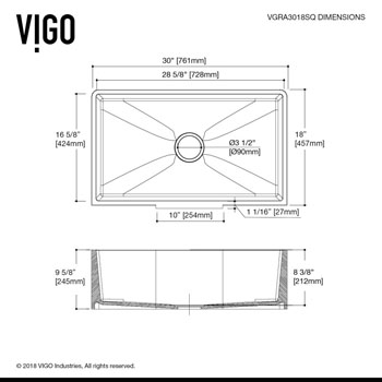 "30"" Sink Specifications"