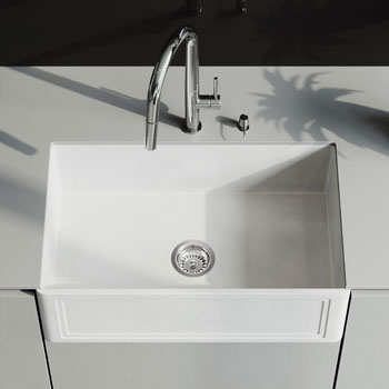 Sink and Greenwich Pull-Down Kitchen Faucet Closeup