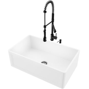 Sink and Zurich Pull-Down Kitchen Faucet Display View