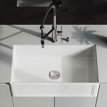 33'' Sink and Livingston Magnetic Kitchen Faucet Closeup