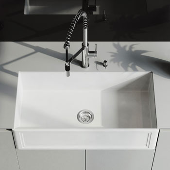 36'' Sink and Livingston Magnetic Spray Kitchen Faucet Closeup