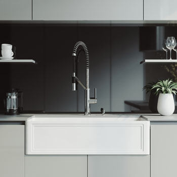 36'' Sink and Livingston Magnetic Spray Kitchen Faucet Lifestyle 1