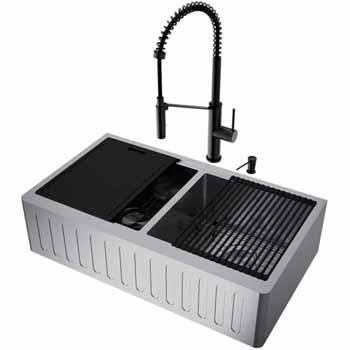 36'' Sink w/ Livingston Faucet in Matte Black