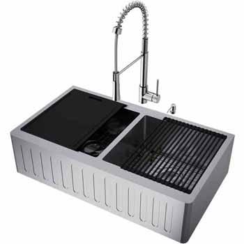 36'' Sink w/ Laurelton Faucet in Stainless Steel