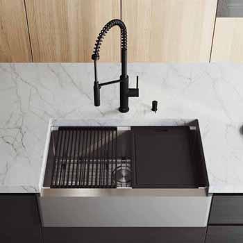 33'' Sink w/ Livingston Faucet in Matte Black